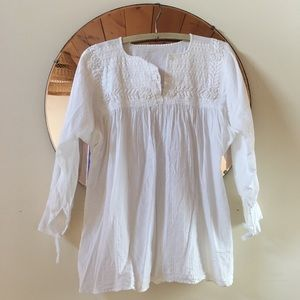 Mexican Embroidered Gauze Cotton Blouse